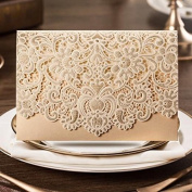 20 X Luxury laser cut embossed flower wedding invitation cards in Gold colour, FREE matching envelop, insert card and seal