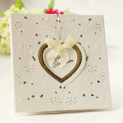 Set of 20 Embossed Gold Interlocking Heart Ivory Wedding Invitation With Organza Bows Party Invite Wedding Cards