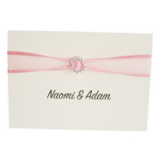 50 Personalised Ivory Linen with Organza ribbon Wedding Invitations with 50 Envelopes