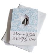 50 Personalised Honeycomb Window White Hammered Wedding Invitations with 50 Envelopes