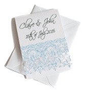 50 Personalised White Hammered Lace Cut Wedding Invitations with 50 Envelopes