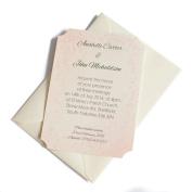 50 Personalised Ivory Linen Clasic Wedding Invitations with 50 Ivory Envelopes