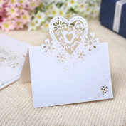 20 White Pearly Heart Table Markers Glitter Wedding Party Favours, Cards, Invitations
