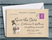 60 Personalised Save The Date Cards - Cute Couple Postcard Personalised With your Names and Wedding Date - Complete with Envelopes