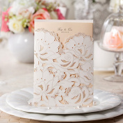 100PCS Delicate White Laser Cut Floral Wedding Invitation Cards for Party Wedding Birthday Bridal Shower