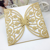 H & D 60pcs/5bag Laser Cut Beautiful Butterfly Flower Design Wedding Birthday Party Invitations Elegant Cards,Thanks you card,Bady Greet Card Favours Gifts Decoration