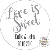 50 x 5cm PERSONALISED LOVE IS SWEET Wedding Stickers Favours/Save The Date/Invites Thank You. Great For Favours, Jars etc