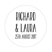 50 x 4cm PERSONALISED Wedding/Party Stickers Favours/Save The Date/Invites