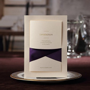20 X Ivory Elegant Wedding Invitation Cards With Purple Ribbon FREE matching envelop, FREE matching blank insert card and FREE seal