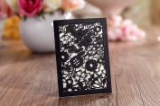 Mini Black Floral Laser Cut Pocket Ideal for Wedding Invitation, Save the Date, Lottery Ticket Holder Inc Envelopes x 10