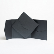 Ebony Black Pearlescent Pocketfold Invites 144mmx144mm