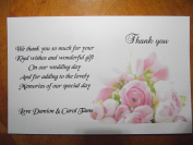 Personalised Wedding Pink Rose thank you gift cards – postcard style – x 10