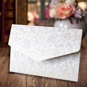 A6 Pocketfold Invites Shimmer White Applique Floral Embossed Pocketfold Invitations Inc Envelopes