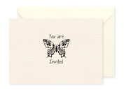10 x Ivory Invitations blank inside for any occasion with 10 x Ivory Envelopes Butterfly