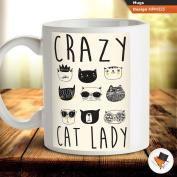Crazy cat lady funny coffee tea mug cup gift birthday anniversary present