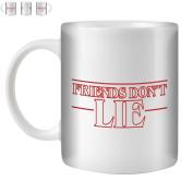 STUFF4 Tea/Coffee Mug/Cup 350ml/Red/Strange Retro Friends Don't Lie/White Ceramic/ST10