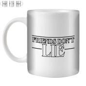 STUFF4 Tea/Coffee Mug/Cup 350ml/Black/Strange Retro Friends Don't Lie/White Ceramic/ST10