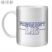 STUFF4 Tea/Coffee Mug/Cup 350ml/Blue/Strange Retro Friends Don't Lie/White Ceramic/ST10