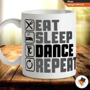 Eat sleep dance repeat dancer teacher gift raver coffee tea mug cup gift