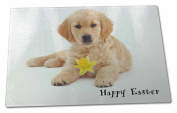 'Happy Easter' Goldie+Daffodil Extra Large Toughened Glass Cutting, Chopping Boa