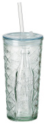 Ritzenhoff & Breker 177169 100% Recycled Glass Coca Cola Glass to Go Diamond 2 Cup, Drinking Cup with Lid and Straw Tumbler Glass, Clear, 8 x 8 x 17 cm