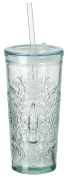 Ritzenhoff & Breker 178135 Coca Cola Relief Glass Arms to Go 530 ml – 100% Recycled Glass Drinking Cup with Lid and Straw Tumbler Glass, Clear, 8 x 8 x 17 cm