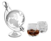 1 Whisky Whiskey Carafe 750 ml with Globe Glass Cork Stopper Glass Carafe World Globe Decanter Bottle 0.75 Litre l Gin Sloe Glass Liquor Schnapps Glass of Wine by Slkfactory, 1 Stück & 2 Gläser