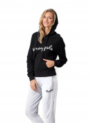 PINEAPPLE DANCEWEAR Womens Classic Fleece Cotton Pull On Hoodie Black
