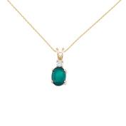 14K Yellow Gold Oval Emerald & Diamond Pendant