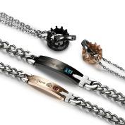 Flongo Men's Womens Stainless Steel King Queen Crown Pendant Necklace Bracelet Valentine Christmat Anniversary Set