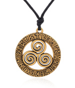 Norse Vikings Runes Amulet Pendant Necklace with Three Interlocked Spirals Talisman Jewellery