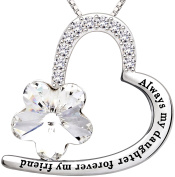 """ALOV Jewellery Sterling Silver """"Always my daughter forever my friend"""" Love Heart Crystal Pendant Necklace"""