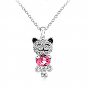 "Acefeel Fashion Jewellery ""Lucky Cat"" Pendant Made with Elements Crystal Necklace N161"