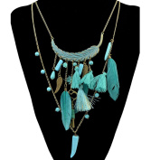 Bohemian style bronze multi-layer long chain turquoise key feather statement necklace