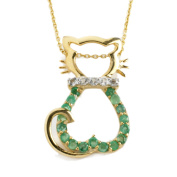 Anderson & Webb Green Emerald and White Topaz Silver Cat Pendant Necklace 45cm with Silver Plated Ball Earrings