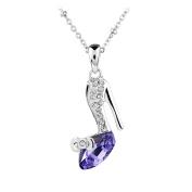 Le Premium® High Heel Pendant Necklace Irregular Triangle Shaped Tanzanite Purple Crystal