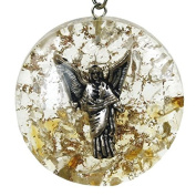 Reiki Energy Charged Archangel Uriel Orgone Crystal Pendant with Silver Chain