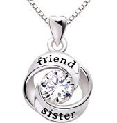 ALOV Jewellery Sterling Silver friend and sister Love Heart Cubic Zirconia Pendant Necklace
