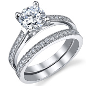 Ultimate Metals Co. 1.25 Carat Round Brilliant CZ Sterling Silver 925 Wedding Engagement Ring Band Set
