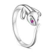 Sweetiee Ring 925 Sterling Silver Finger Ring, Cat with AAA Zircon,17mm(Adjustable) for Woman
