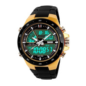 LED Digital Watch for Men, TONSHEN Outdoors Sport Electron Multifunction Military 12H/24H Waterproof 50M Water Resistant Plastic Watch Stopwatch Calendar Dual Time Analogue Quarz Wrist Watches - Gold
