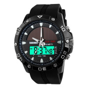 TONSHEN Mens LED Sports Digital Watch Outdoors Multifunction Military Stopwatch Date 50M Waterproof Watches Stainless Steel Case with Comfortable Silicone Strap Dual Time Solar Wrist Watch - Black
