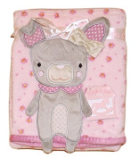 Baby Girls Gorgeous Pink & Grey Bunny Rabbit and Floral Soft and Cuddly Infants Wrap / Blanket