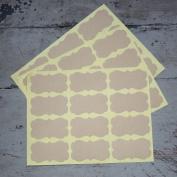 Plain Brown Kraft Ornate Shape stickers x 36 - Wedding / Craft / Scrapbooking