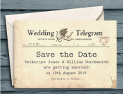 50 Save The Date Cards - Personalised for you with your names and wedding date - Save the Date Telegrams with Envelopes