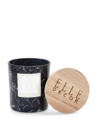 ELLE DECOR -BLACKCURRANT CANDLE IN MARBLE EFFECT CERAMIC JAR WITH WOOD LID