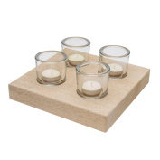 Black Velvet Studio Candleholder Twinkle Natural colour 4 candles Nordic style Mango wood 4x22x22 cm