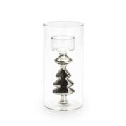 Black Velvet Studio Candleholder Silver Transparent / Silver colour Christmas decoration Nordic style Glass 16x8x8 cm