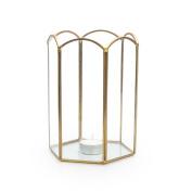 Black Velvet Studio Candleholder Retro Transparent / Gold colour Flower shape Nordic and retro style Glass/metal 18x12x12 cm