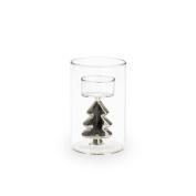 Black Velvet Studio Candleholder Silver Transparent / Silver colour Christmas decoration Nordic style Glass 12x8x8 cm